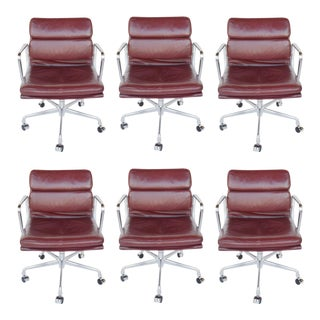 Set of Six Herman Miller Soft Pad Leather Chairs, Mid Century For Sale