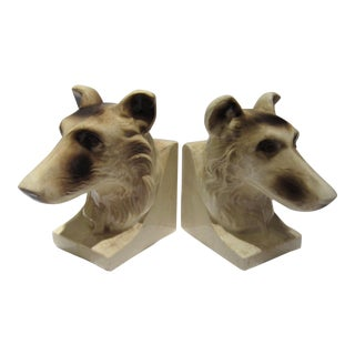 1950s Vintage Ceramic Dog Bookends - A Pair For Sale