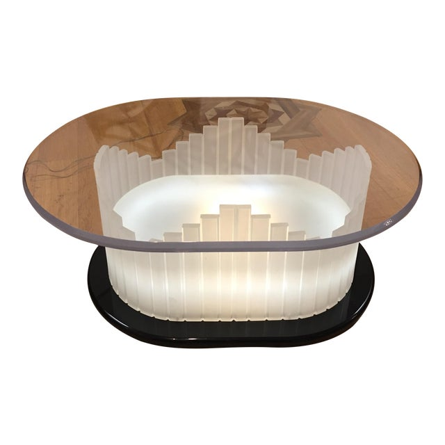 Vintage Art Deco Lucite Lighted Base Coffee Table For Sale