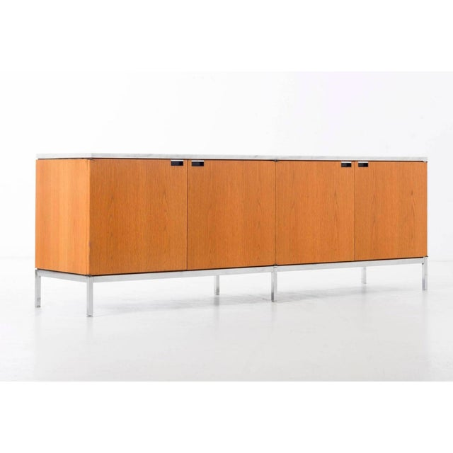 Florence Knoll white oak credenza with Carrara marble top.