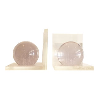Vintage Mid-Century Modern Lucite Ball Bookends - a Pair For Sale
