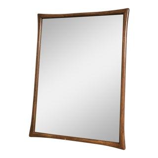 1960s Vintage Gio Ponti Oak Wood Framed Mirror For Sale