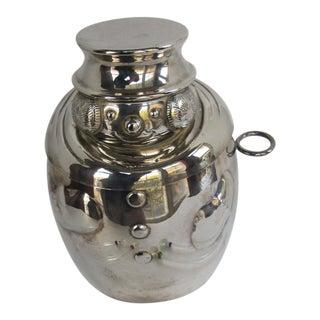 Vintage Silver-Plate Snowman Ice Bucket & 4 Blown Glass Snowmen Swizzle Sticks For Sale