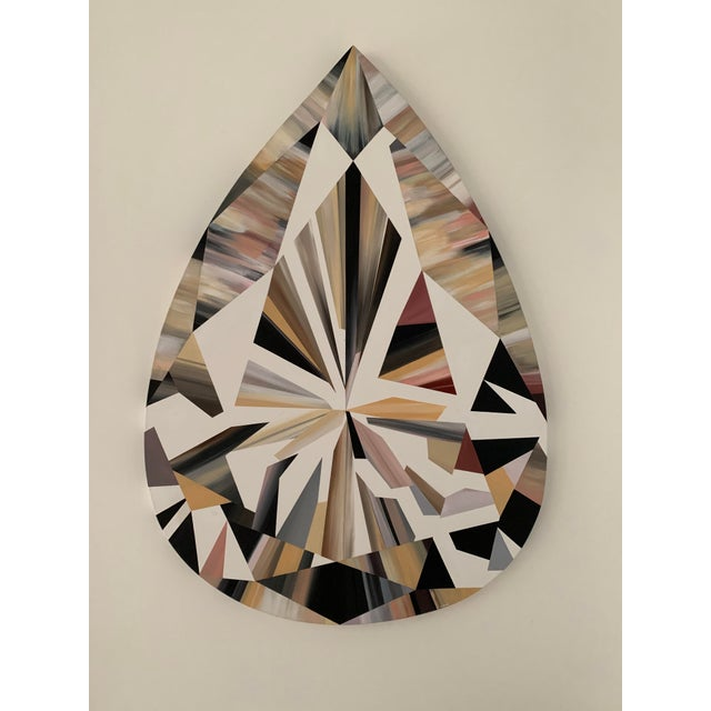 Early 21st Century Kurt Pio Pink Pear Shaped Diamond Acrylic Painting on Canvas For Sale - Image 5 of 5