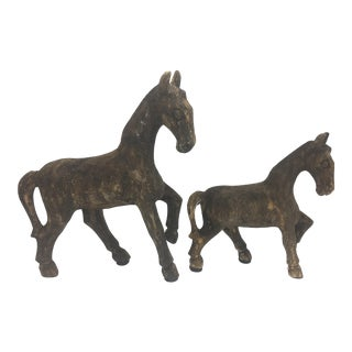 Vintage Carved Wooden Horses - a Pair For Sale