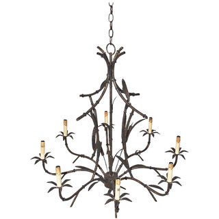 Faux Bamboo Tole Chandelier For Sale