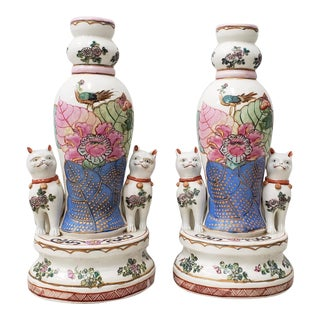 Pair of Early to Mid 20th Century Chinese Porcelain Figurines With Cats / Candle Holders For Sale