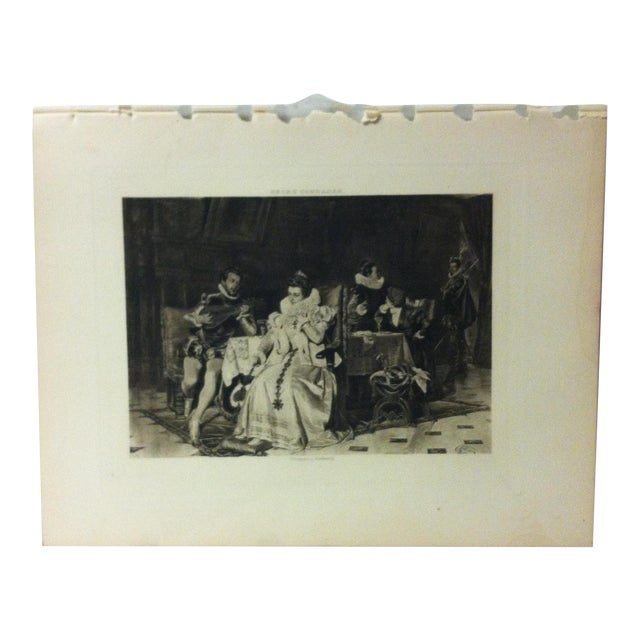 "Antique Photogravure on Paper, ""Mary Stuart and Rizzio"" by Georg Conrader - Circa 1860 For Sale"