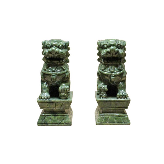 Chinese Green Stone Carved Foo Dog Fengshui Figures - a Pair For Sale