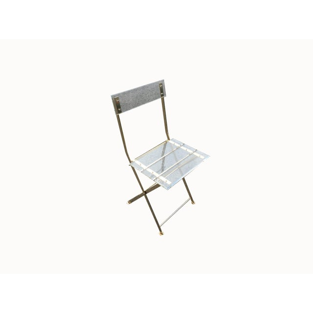 Vintage French Acrylic Folding Chair With Brass Base, C.1970s For Sale - Image 11 of 11