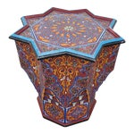 Moroccan Lg Ceuta 6 Painted and Carved Star Table, Multi-Color