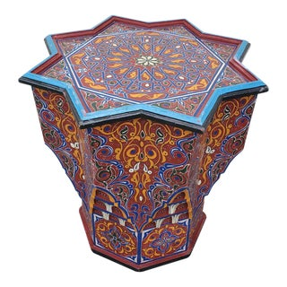 Moroccan Lg Ceuta 6 Painted and Carved Star Table, Multi-Color For Sale