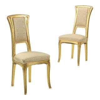 Art Nouveau Gilt Wood Side Chairs - a Pair For Sale