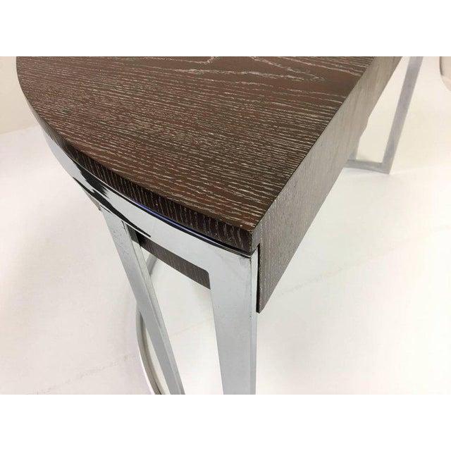Cerused Oak and Chrome Demilune Desk by Milo Baughman - Image 5 of 11