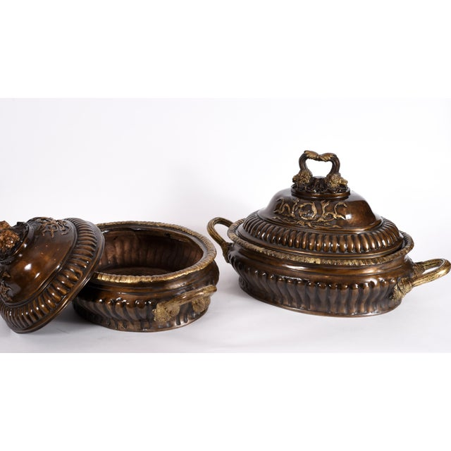 Gold Early 20th Century Neoclassical Style Bronze Tureen Centerpieces - a Pair For Sale - Image 8 of 13