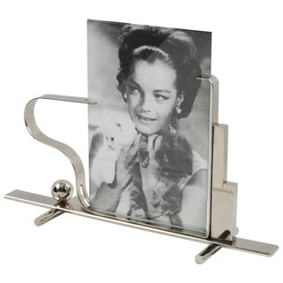 French Art Deco 1930s Modernist Skyscraper Chrome Picture Photo Frame Signed For Sale