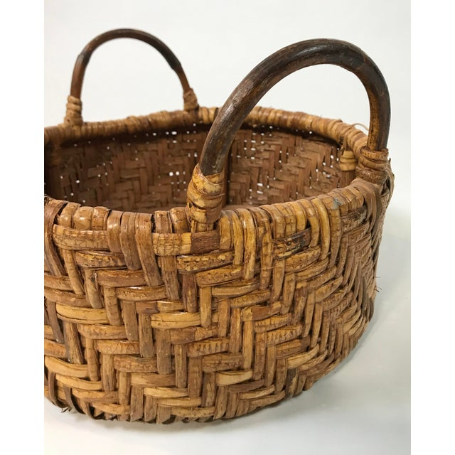 Early 20th Century Early 20th Century Woven Wicker Basket For Sale - Image 5 of 7