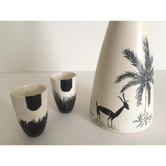 Vintage African Black & White Handcrafted Pottery Decanter Bottle & Cups - 4 Piece Set For Sale - Image 5 of 10