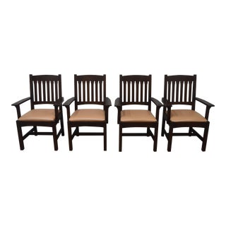 Stickley Mission Oak Arm Chairs- Set of 4 For Sale