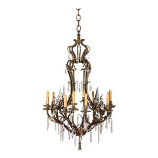Early 20th Century French Brass and Crystal Chandelier For Sale