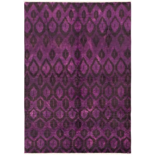 "Purple Hand-Knotted Rug-6'0"" X 8'5"" For Sale"