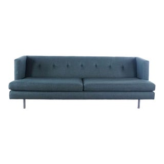 Cb2 Mid-Century Modern Style Gray Upholstered Two-Cushion Sofa For Sale