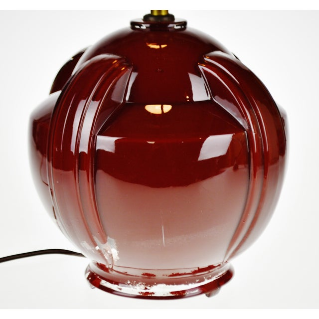 Art Deco Oxblood Reverse Painted Glass Table Lamp For Sale - Image 9 of 13
