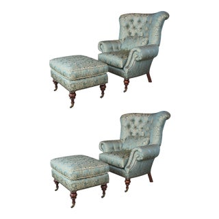 Ej Victor Beacon Hill Wingback Kensington Tufted Arm Wing Chairs & Ottomans - 4 Pieces For Sale
