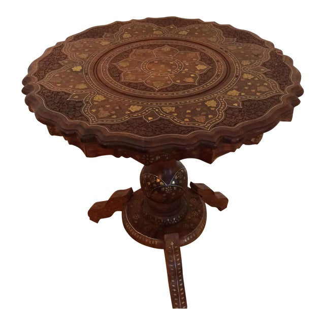 Vintage Carved Wood Brass & Copper Inlaid Pedestal Table For Sale