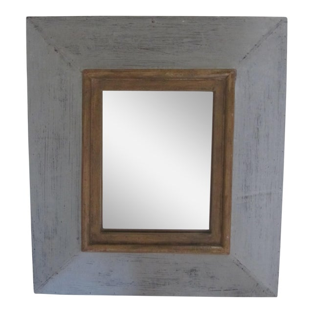 Distressed Grey & Gold Wall Mirror For Sale