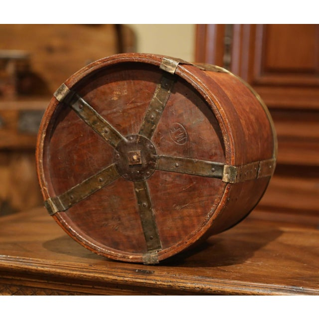 Gold 19th Century French Walnut, Brass and Iron Grain Measure Bucket or Waste Basket For Sale - Image 8 of 9