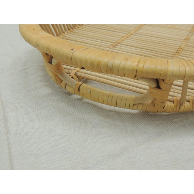 Vintage Rattan Woven Oval Serving Tray with Handles Wood match sticks at the base and all the sides. Honey color. Size:...