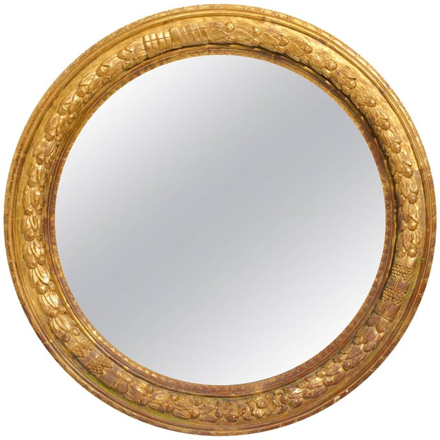 Wood Large Round Carved Giltwood Mirror For Sale - Image 7 of 7