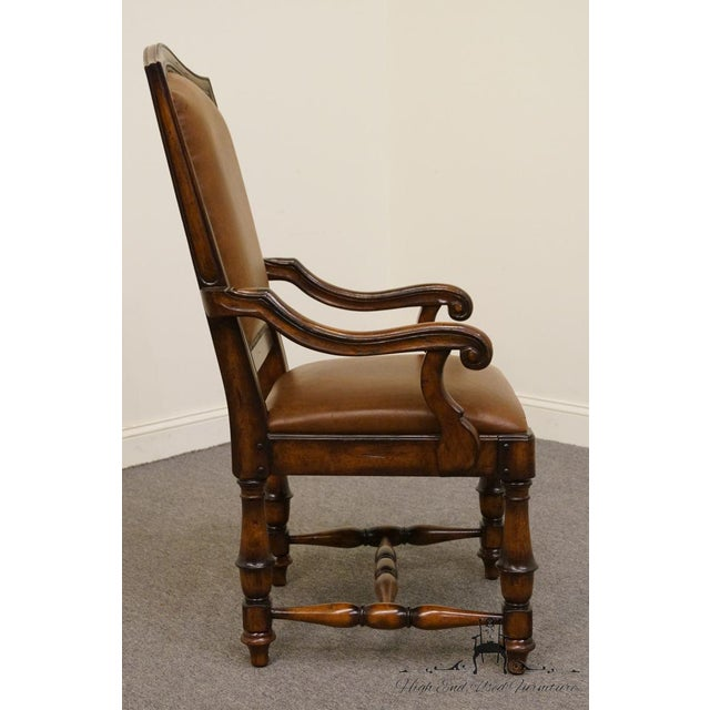 Wood Hooker Furniture Wynterhall Collection Leather Dining Arm Chair W. Nail Head Trim For Sale - Image 7 of 10