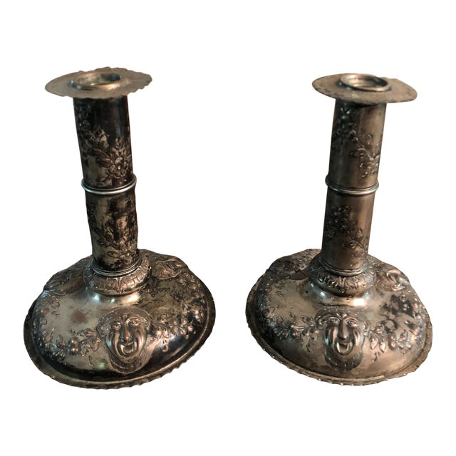 18th Century Silver on Copper Repousse Swedish Candle Holders - a Pair For Sale
