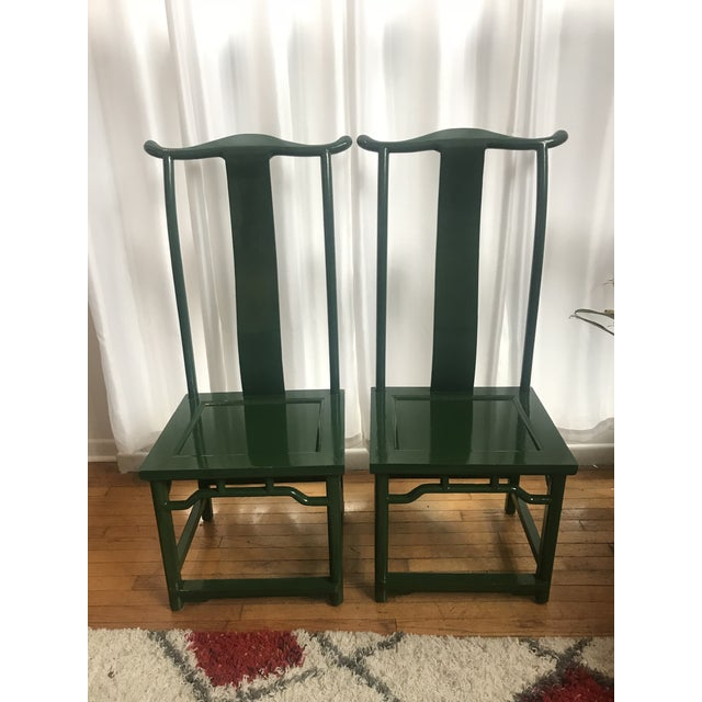 Chinoiserie Ming Style Green Lacquered Chairs - a Pair For Sale - Image 10 of 10