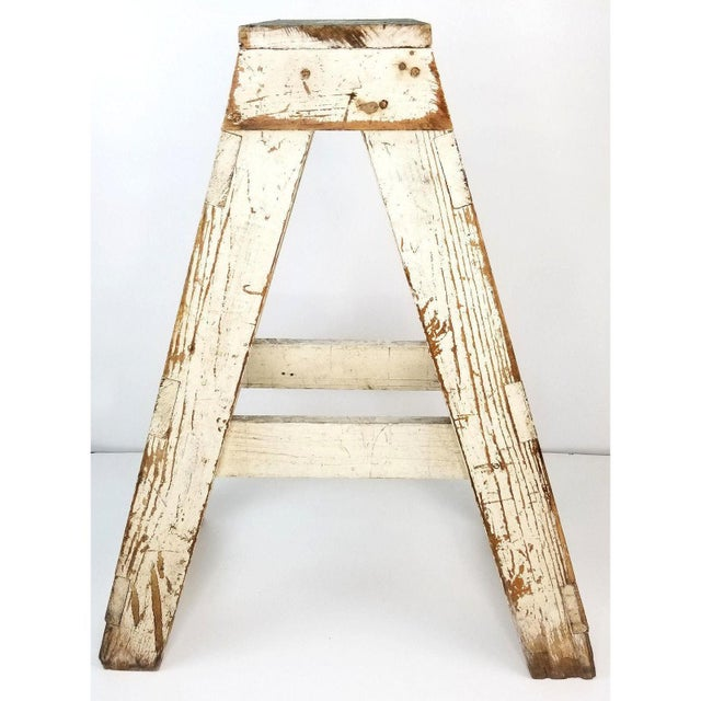 1940s Antique Primitive Farmhouse Country Kitchen White Wood Stool Plant Stand Decor For Sale - Image 5 of 6