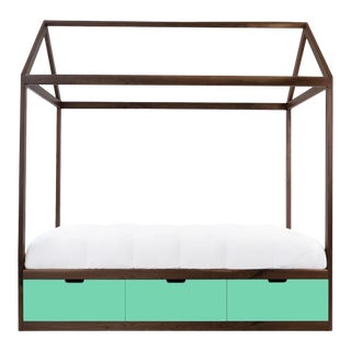 Nico & Yeye Zen Full Panel Bed with Drawers Made of Solid Walnut Mint Drawers For Sale