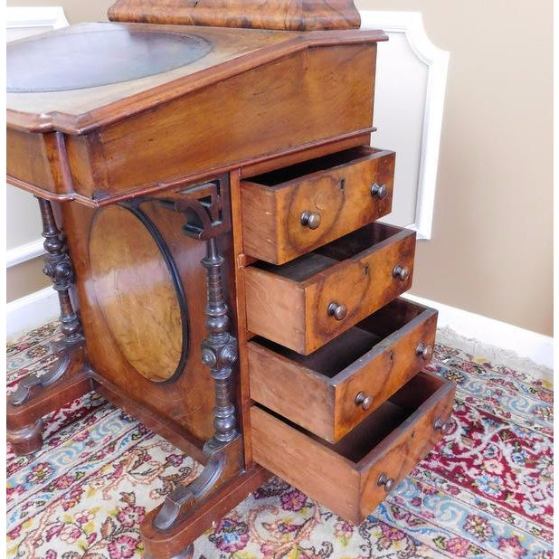 Victorian English Burl Walnut Davenport Desk - Image 8 of 9