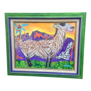 "Folk Art Primitive ""Reina and Her Lala"" Original Llama Painting in Distressed Painted Frame For Sale"