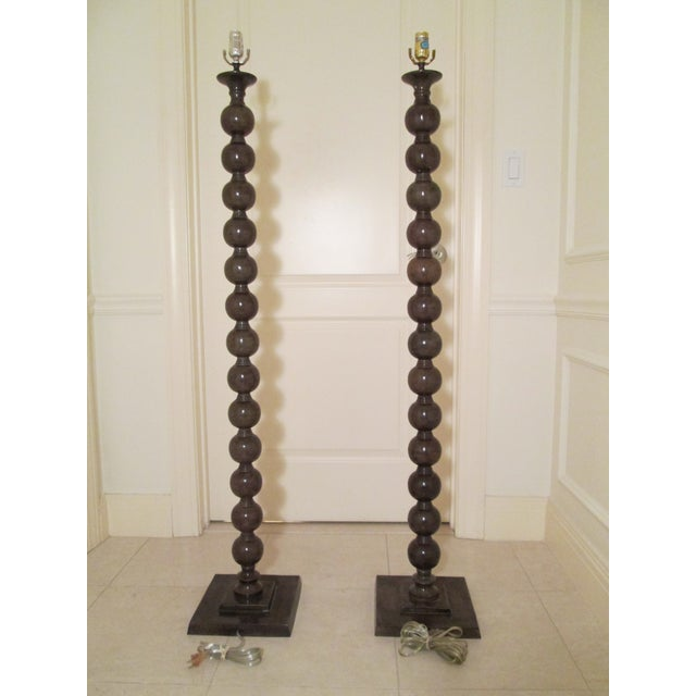 Brown Jamie Young Luna Floor Lamps - a Pair For Sale - Image 8 of 9
