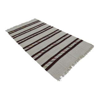 Vintage Natural Stripe Turkish Cotton Kilim Rug - 4′3″ × 8′ For Sale