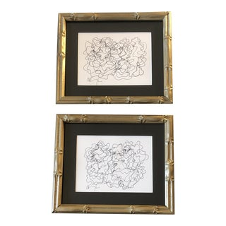 Gallery Wall Collection 2 Original Vintage Wayne Cunningham Abstract Ink Drawings-set of 2 For Sale