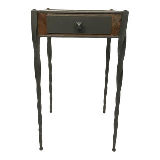Organic Modern Currey & Co. Wood and Iron Accent Table For Sale