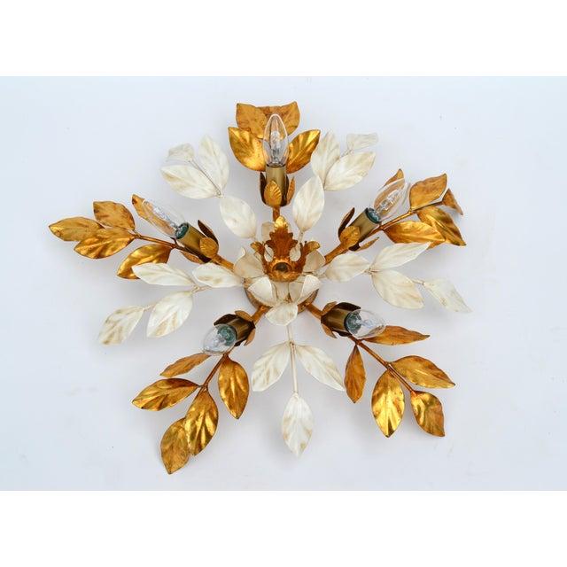 Willy Daro Style Belgium Brass & Enamel Flower Flush Mount in Gold White Finish For Sale - Image 10 of 10