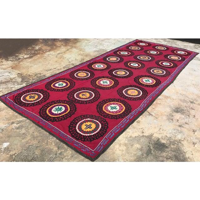 Oversized Vintage Suzani Tapestry - 14.8 x 6' - Image 5 of 6
