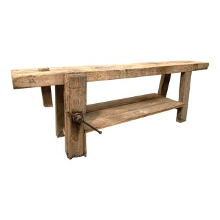 French Etabli or Carpenter's Workbench With Thick Plank Top For Sale