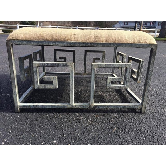 Greek Key Iron and Burlap Upholstery Ottoman/Coffee Table For Sale In New York - Image 6 of 11