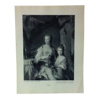 "Circa 1940 ""Comtesse De Marsollier Et Sa Fille"" by Jean Marc Nattier Masterpiece of Art Print For Sale"