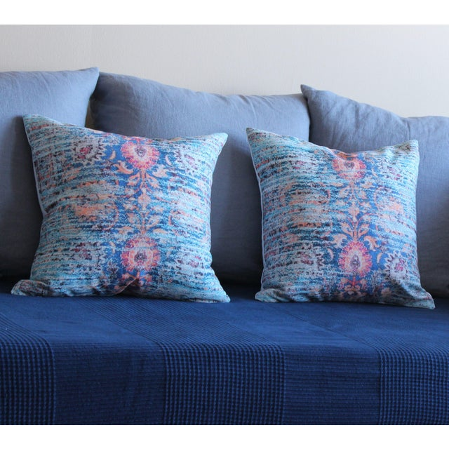 Boho Chic Blue Ikat Distressed Print Pillow Cover - A Pair For Sale - Image 3 of 5